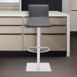 Crystal Barstool in Brushed Steel finish with Gray Pu upholstery and Walnut back
