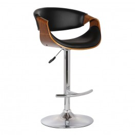 Armen Living Butterfly Adjustable Swivel Barstool in Black Pu with Chrome Finish and Walnut Wood