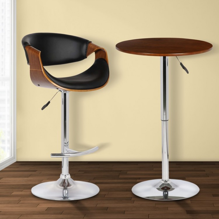 Charmant Butterfly Adjustable Swivel Barstool In Black Pu With Chrome Finish And  Walnut Wood