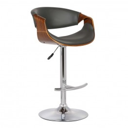 Armen Living Butterfly Adjustable Swivel Barstool in Gray Pu with Chrome Finish and Walnut Wood