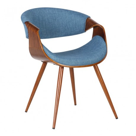 Butterfly Mid-Century Dining Chair in Walnut Wood and Blue Fabric