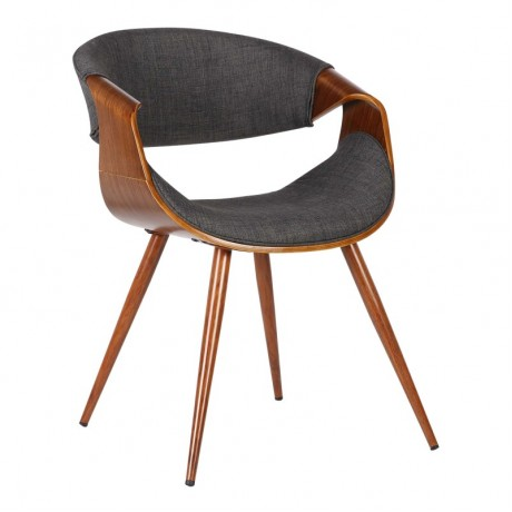 Butterfly Mid-Century Dining Chair in Walnut Wood and Charcoal Fabric