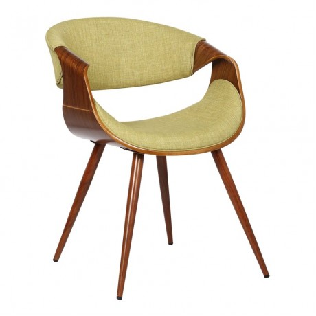 Butterfly Mid-Century Dining Chair in Walnut Wood and Green Fabric