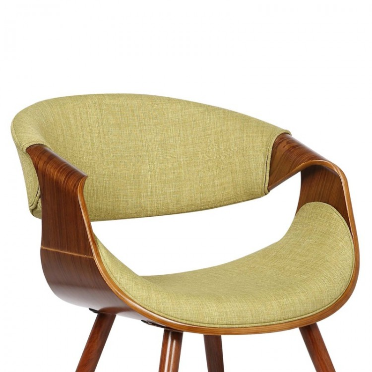 Armen Living Butterfly Mid Century Dining Chair In Walnut Wood And Green  Fabric