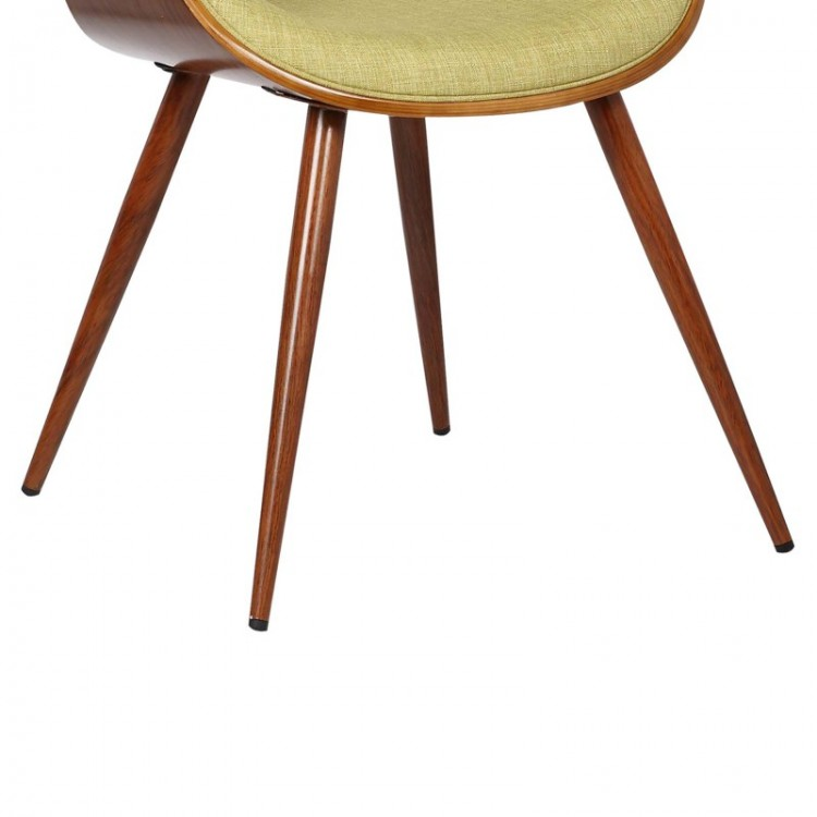 Armen Living Butterfly Mid Century Dining Chair In Walnut Finish And Green Fabric