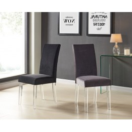 Armen Living Dalia Modern and Contemporary Dining Chair in Gray Velvet with Acrylic Legs (Set of 2)
