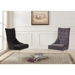 Gobi Modern and Contemporary Tufted Dining Chair in Black Velvet with Acrylic Legs