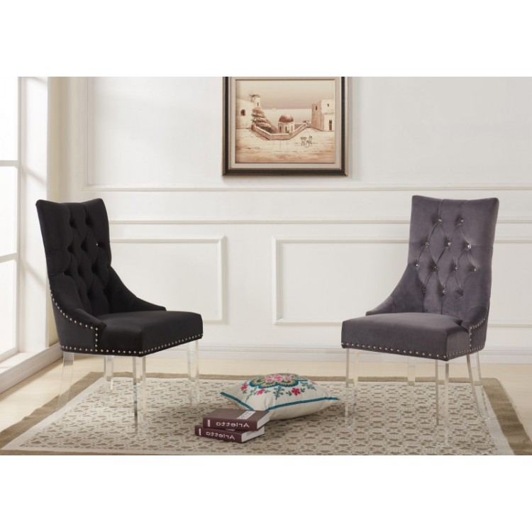 armen living gobi modern and tufted dining chair in black velvet with acrylic legs