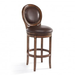 "Armen Living Greece 30"" Bar Height Swivel Wood Barstool in Chestnut Finish and Kahlua Pu"