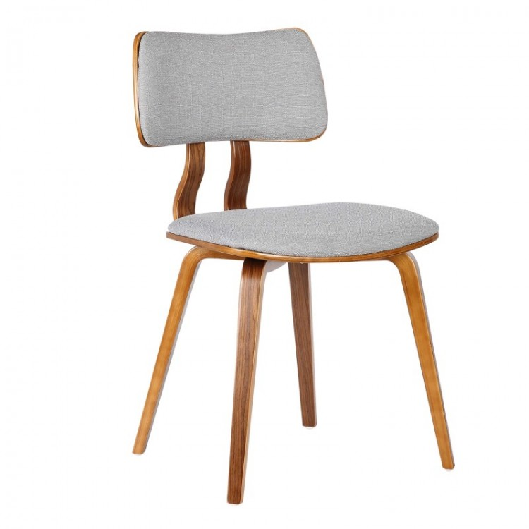 armen living jaguar midcentury dining chair in walnut wood and gray fabric