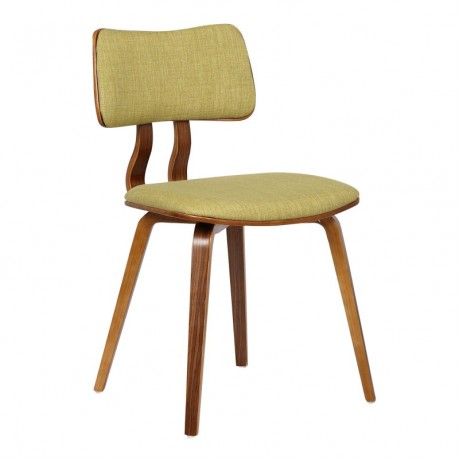 Armen Living Jaguar Mid-Century Dining Chair in Walnut Wood and Green Fabric