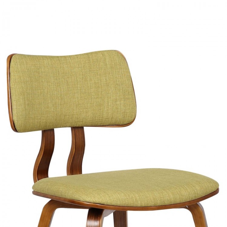 armen living jaguar midcentury dining chair in walnut wood and green fabric