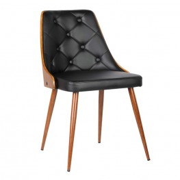 Lily Mid-Century Dining Chair in Walnut Wood and Black Pu