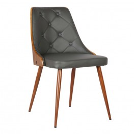 Lily Mid-Century Dining Chair in Walnut Wood and Gray Pu