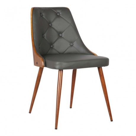 Armen Living Lily Mid-Century Dining Chair in Walnut Wood and Gray Pu