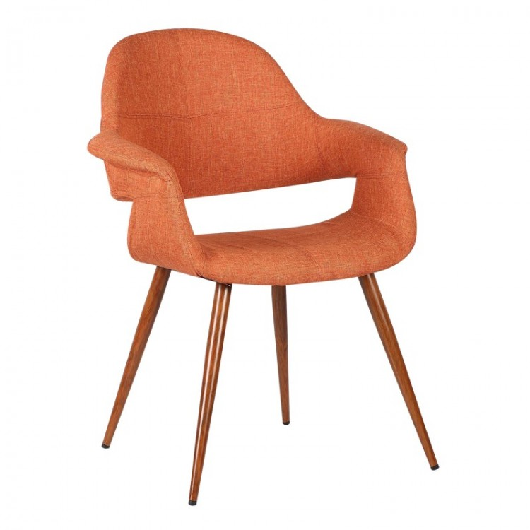 Merveilleux Phoebe Mid Century Dining Chair In Walnut Wood And Orange Fabric