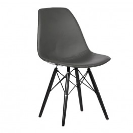 Armen Living Paula Mid-Century Dining Chair in Walnut Wood and Gray Pu