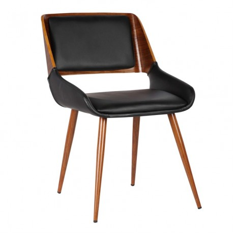 Panda Mid-Century Dining Chair in Walnut Wood and Black Pu
