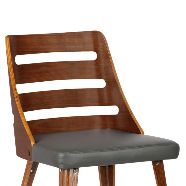 Storm Mid Century Dining Chair In Walnut Wood And Gray Pu