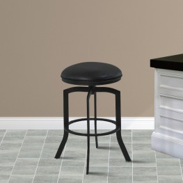 "Armen Living Studio 26"" Counter Height Metal Swivel Barstool in Ford Black Pu and Black Finish"