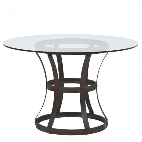 "Armen Living Vancouver Round Dining Table in Auburn Bay Finish and 48"" Glass Top"