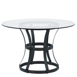 "Armen Living Vancouver Round Dining Table in Mineral Finish and 48"" Glass Top"