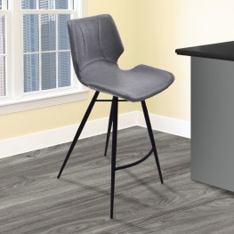 "Armen Living Zurich 30"" Bar Height Metal Barstool in Vintage Gray Pu and Black Metal Finish"
