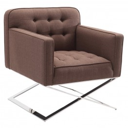 Chilton Accent Chair in Brushed Steel finish with Brown Fabric upholstery