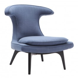 Aria Chair in Black Wood finish with Blue Fabric upholstery