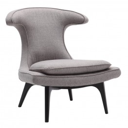 Aria Chair in Black Wood finish with Gray Fabric upholstery