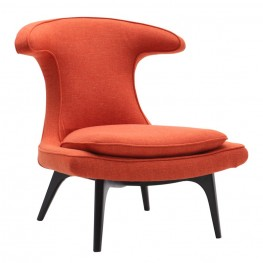 Armen Living Aria Chair in Black Wood finish with Orange Fabric upholstery