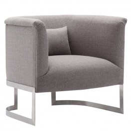 Armen Living Elite Accent Chair in Brushed Steel finish with Gray Fabric upholstery