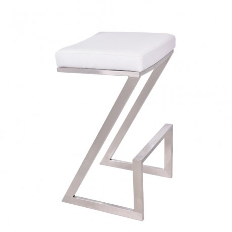 "Atlantis 26"" Backless Barstool in Brushed Stainless Steel finish with White Pu upholstery"