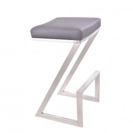 "Atlantis 30"" Backless Barstool in Brushed Stainless Steel finish with Gray Pu upholstery"