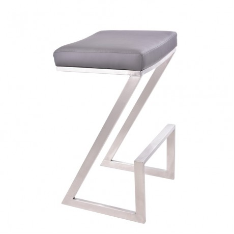 "Armen Living Atlantis 30"" Backless Barstool in Brushed Stainless Steel finish with Gray Pu upholstery"