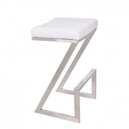 "Atlantis 30"" Backless Barstool in Brushed Stainless Steel finish with White Pu upholstery"