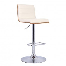 Aubrey Barstool Chrome Base finish with Cream Pu upholstery and Walnut back