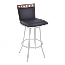 "Armen Living Coco 26"" Barstool in Brushed Steel finish with Black Pu upholstery and Walnut back"