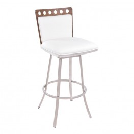 "Coco 30"" Barstool in Brushed Steel finish with White Pu upholstery and Walnut back"