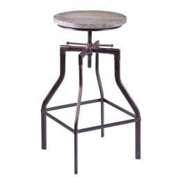 Concord Adjustable Barstool in Industrial Copper finish with Ash Pine Wood seat