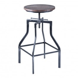 Concord Adjustable Barstool in Industrial Gray Finish with Ash Pine Wood seat