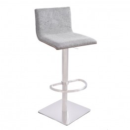 Crystal Barstool in Brushed Steel finish with Gray Fabric upholstery and Walnut back