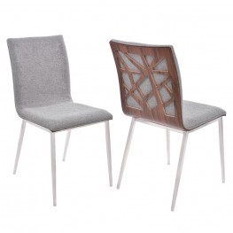 Armen Living Crystal Dining Chair in Brushed Stainless Steel finish with Gray Fabric upholstery and Walnut back (Set of 2)