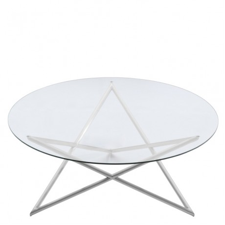 Crest Coffee Table in Brushed Steel finish with Clear Glass top
