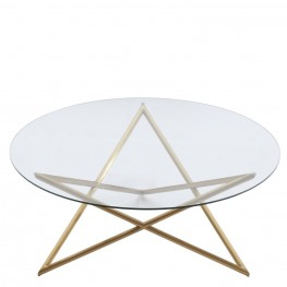 Armen Living Crest Coffee Table in Brushed Gold finish with Clear Glass top