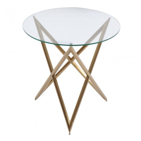 Armen Living Crest End Table in Brushed Gold finish with Clear Glass top