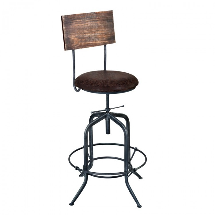 Armen Living Damian Adjule Barstool In Gray Finish With Brown Fabric Seat