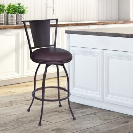 "Armen Living Dynasty 26"" Barstool in Auburn Bay finish with Brown Pu upholstery"