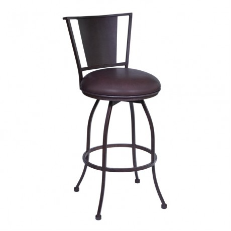 "Armen Living Dynasty 30"" Barstool in Auburn Bay finish with Brown Pu upholstery"