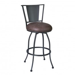 "Armen Living Dynasty 30"" Barstool in Mineral finish with Bandero Tobacco upholstery"